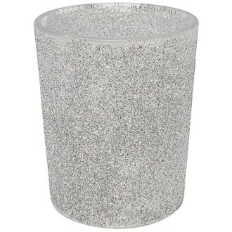 "Glitter Glass Votive Candle Holder 2.75""H Silver"