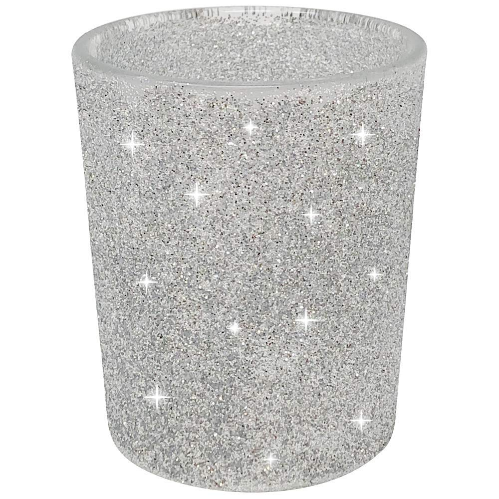 "Glitter Votive Candle Holder 2.75"" H (12pcs, Glitter Silver) - Premier"