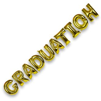 Glossy Gold (30-inch) Foil Mylar Balloons - Phrase: Graduation - Letter and Number Balloons - Premier