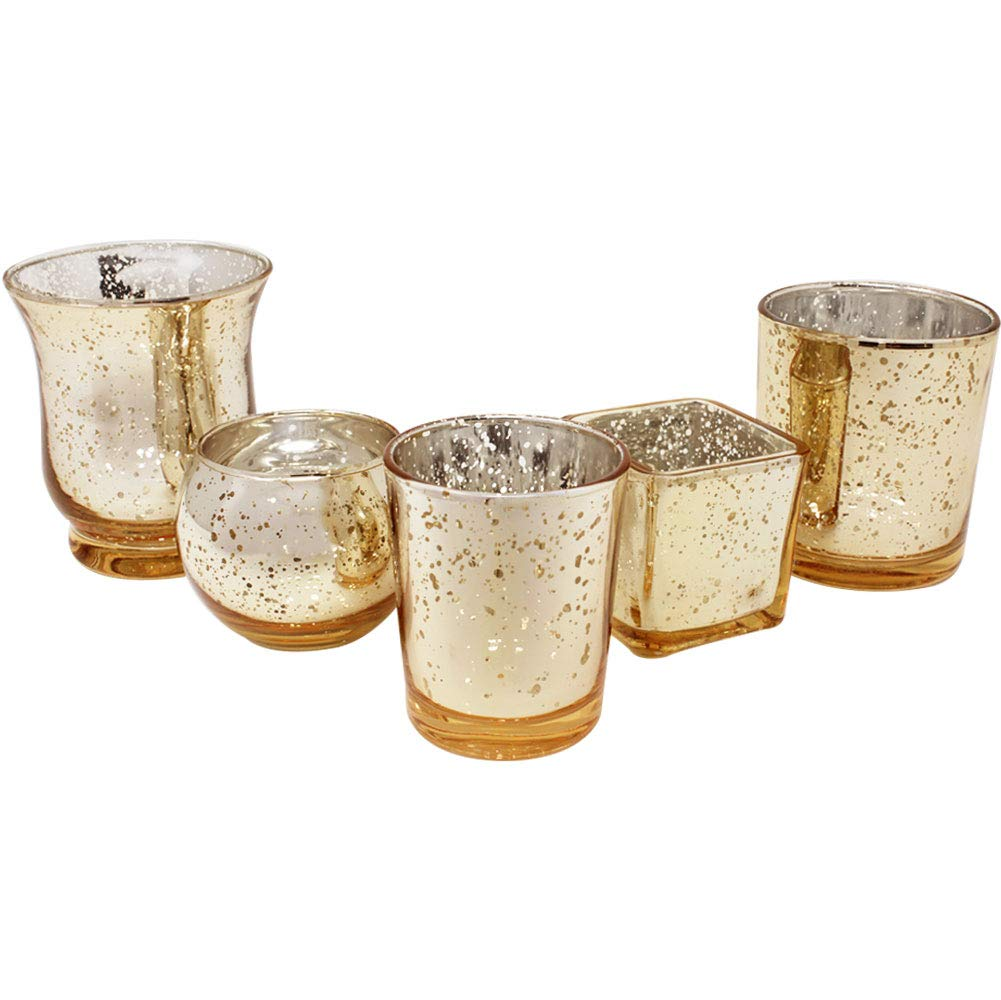 Gold 5pcs Assorted (Size, Style) Mercury Glass Votive Tealight Candle Holder Set - Premier