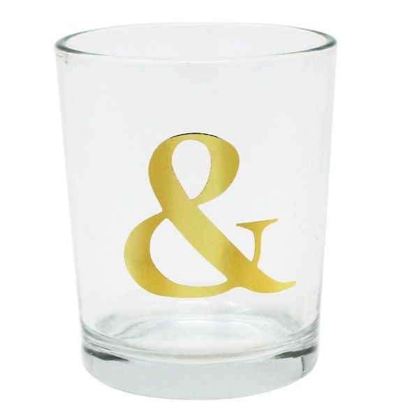 """Gold Ampersand Clear Glass Votive Candle Holder 2.75""""H"""
