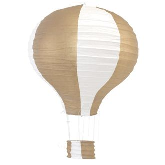 Gold and White Hot Air Balloon Paper Lantern 12in