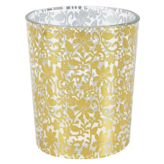 """Gold Flower Lace Glass Votive Candle Holder 2.75""""H"""