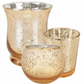 Gold Glass Votive Candle Holders