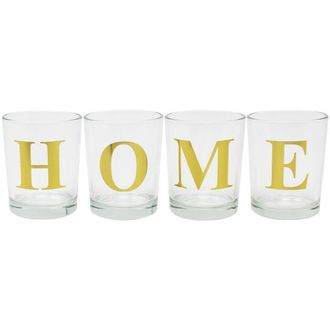 "Gold HOME Clear Glass Votive Candle Holders 2.75""H"