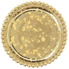 Gold Mercury Glass Beaded Pillar Candle Holder Plate 5""