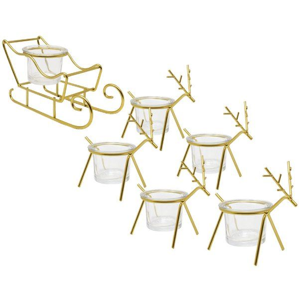 Gold Sleigh and Reindeer Tea Light Candle Holders 6pcs