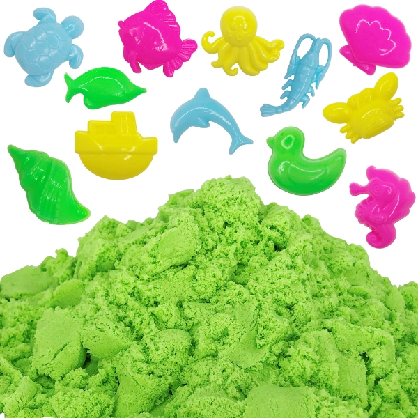 Green 1lb Sensory Play Sand with 12 Aquatic Molds
