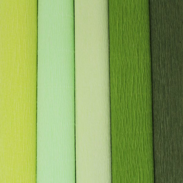 Green Assorted Crepe Paper Roll Package 5pcs