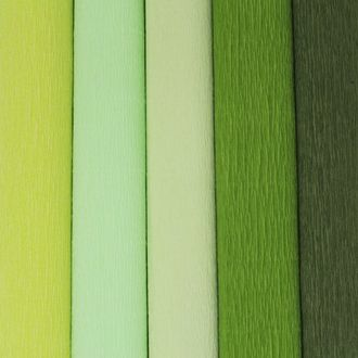 Green Assorted Crepe Paper Roll Package 5pcs 90g