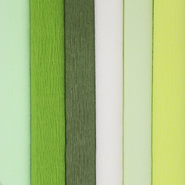 Green Assorted Crepe Paper Roll Package 6pcs