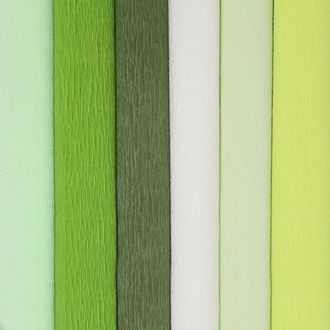 Green Assorted Crepe Paper Roll Package 6pcs 90g