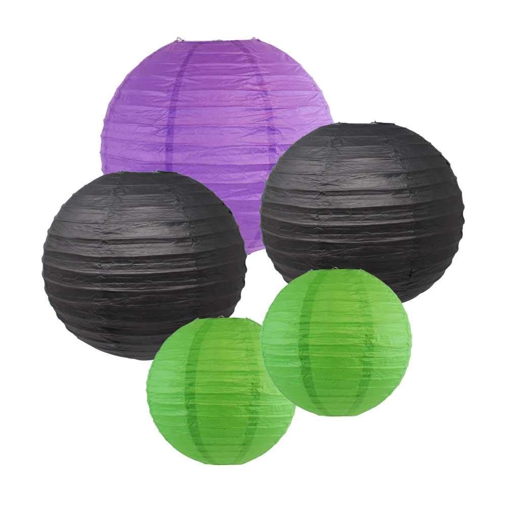 Halloween Party Paper Lantern Kit (Assorted: (2) 8inch, (2) 12inch, (1) 16inch) - Brand (Halloween Kit-1) - Premier