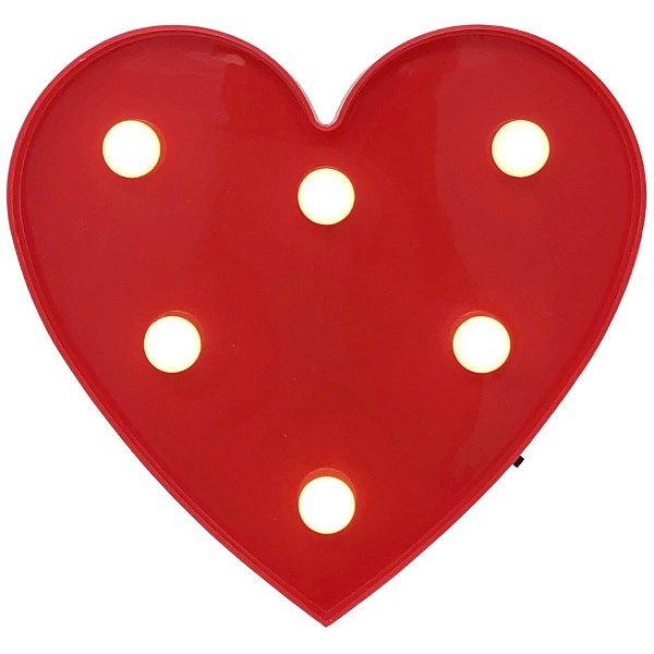 Heart Red 6in Marquee LED Battery Operated Light