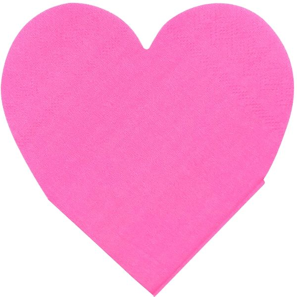 Heart Shaped Hot Pink Paper Napkins 5in 15pcs