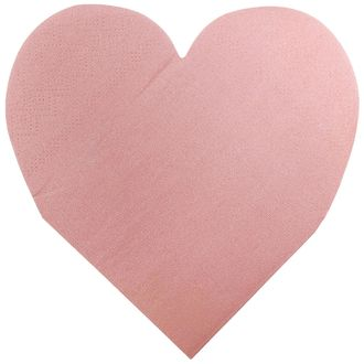 Heart Shaped Light Pink Paper Napkins 5in 15pcs