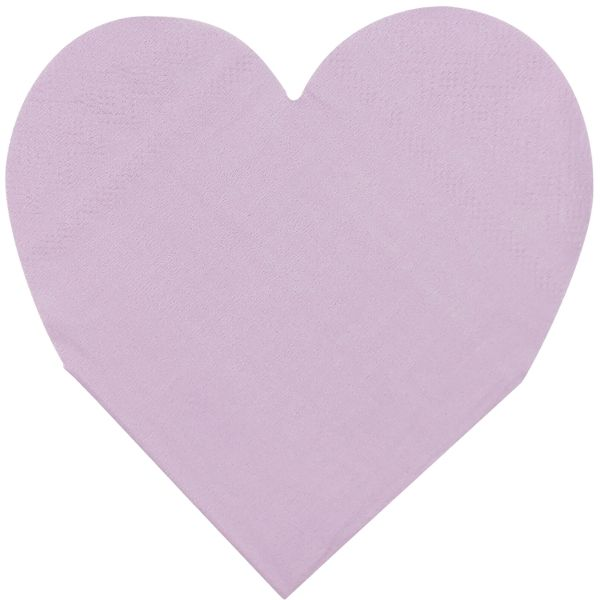 Heart Shaped Light Purple Paper Napkins 5in 15pcs