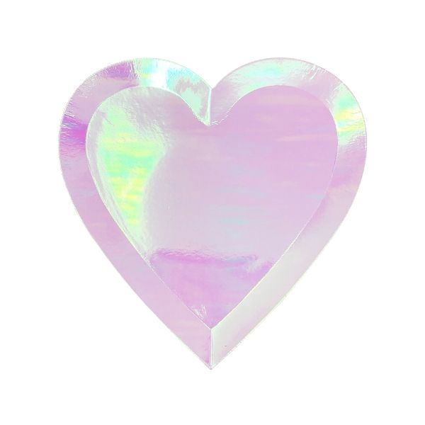 Heart Shaped Paper Plates Iridescent Pink 7in 8pcs