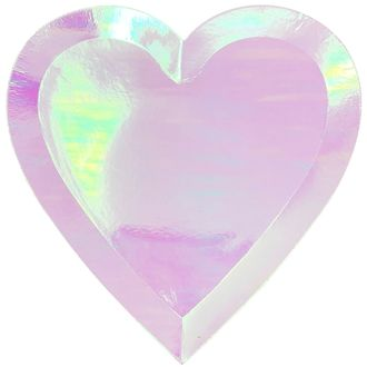 Heart Shaped Paper Plates Iridescent Pink 9in 8pcs