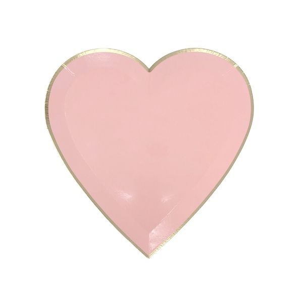 Heart Shaped Paper Plates Light Pink Gold Trim 7in 8pcs