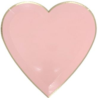 Heart Shaped Paper Plates Light Pink Gold Trim 9in 8pcs