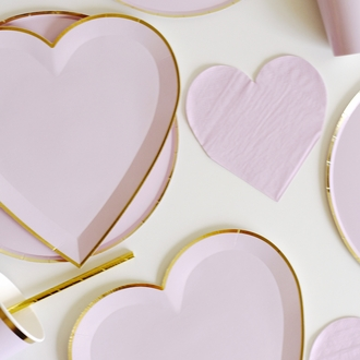 Heart Shaped Paper Plates Light Purple Gold Trim 9in 8pcs