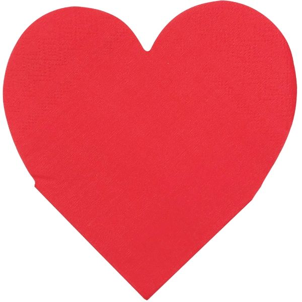 Heart Shaped Red Paper Napkins 5in 15pcs
