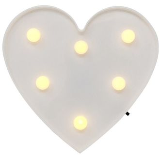 Heart White 6in Marquee LED Battery Operated Light