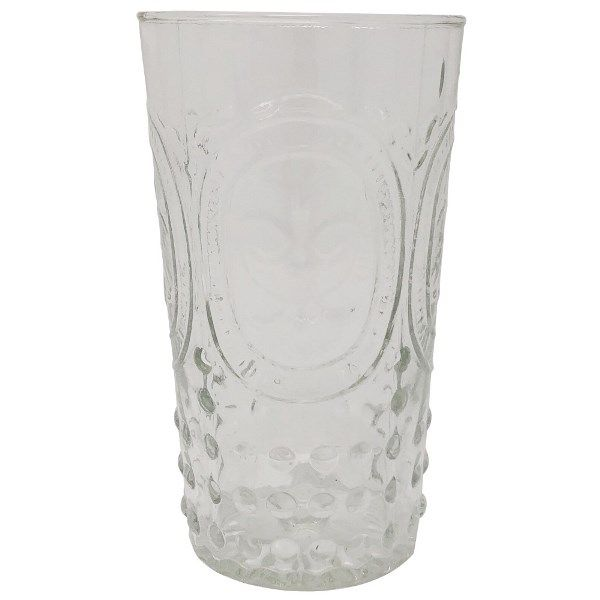CLEARANCE Highball Drinking Glass Fluer De Lis Clear 9oz