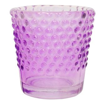 Hobnail Glass Candle Holder Purple 2in