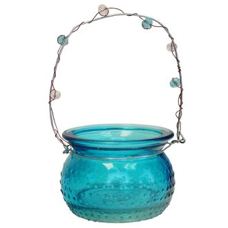 Hobnail Hanging Candle Holder Rowena Turquoise Blue 2in