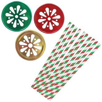 Holiday Cheer Mason Jar Beverage Kit 12pcs Lids 25pcs Paper Straws -Premier