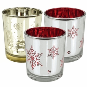 Holiday Glass Votive Candle Holders