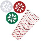 Holiday Magic Mason Jar Beverage Kit 12pcs Lids 25pcs Paper Straws -Premier