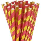 Holly Red and Metallic Gold Striped Paper Straws 25pcs