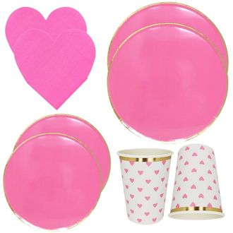 Hot Pink Heart Tableware Kit 39pcs - Premier