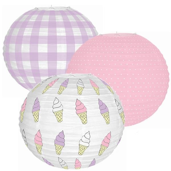 Ice Cream Shoppe 3pcs 12inch Paper Lantern Kit