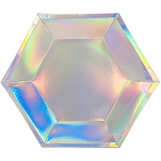 Iridescent Hexagon Party Paper Plate 9in 8pcs