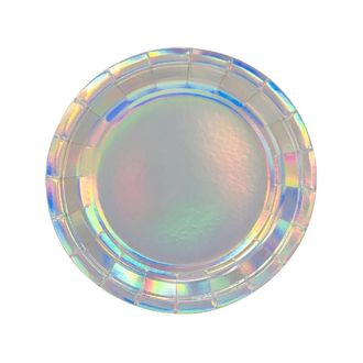 Iridescent Round Paper Plate 7in 8pcs