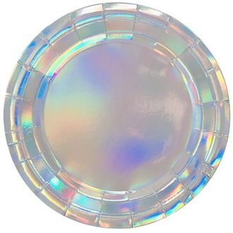 Iridescent Round Paper Plate 9in 8pcs