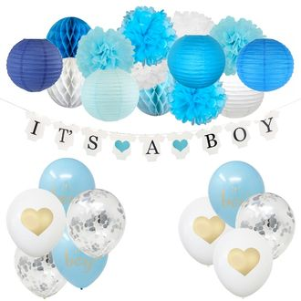 It's a Boy Baby Shower Hanging Decorating Kit 24pcs
