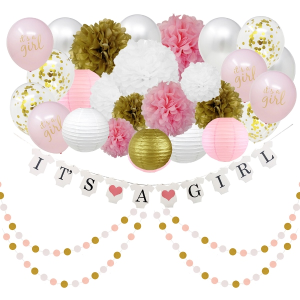 It's a Girl Baby Shower Hanging Decorating Kit 28pcs