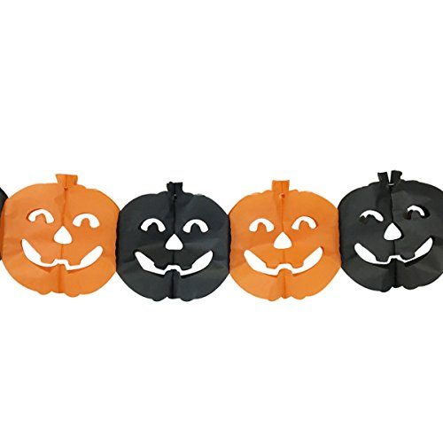 Jack O'Lanterns Expandable Tissue Paper Garland Party Streamers (6 Pack, Orange/Black) - Premier