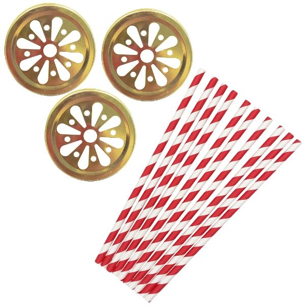 Jingle Bells Mason Jar Beverage Kit 12pcs Lids 25pcs Paper Straws -Premier