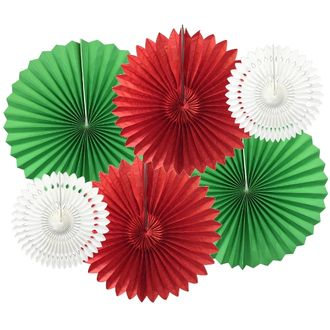 Jingle Bells Pinwheel and Tissue Fan Decorating Kit 6pcs