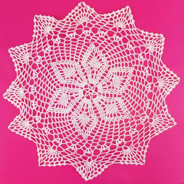 Large Cotton Lace Crocheted Doilies 4pcs Lucille White