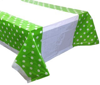 Large Decorative Plastic Rectangular Tablecloth/Cover - 5 Pack - (87-Inch L x 52-Inch W) - Polka Dot Pattern: Green Apple - Premier