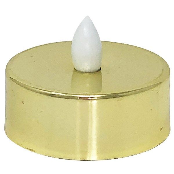 Large Flameless Metallic Gold LED Tea Light Candle