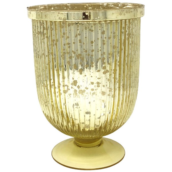 Large Mercury Glass Fluted Hurricane Candle Holder Gold