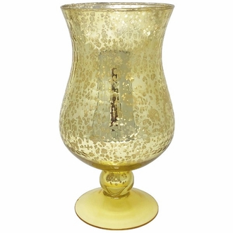 Large Mercury Glass Hurricane Candle Holder Gold